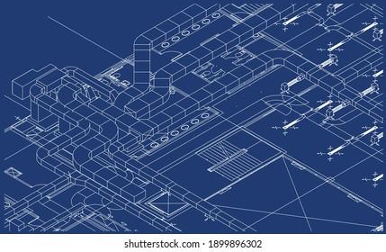 Architectural BIM air ducts design 3d illustration blueprint