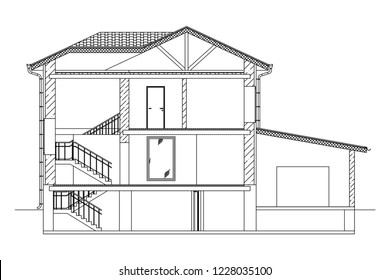 Architectural black and white background. Cross-section suburban house. Vector blueprint.