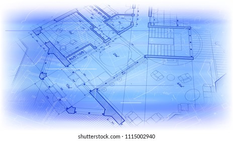 architectural blueprint - the architectural plan of the house on a bright blue technological background with dust and scratches. The edges of the blueprint soft transition to white background / vector