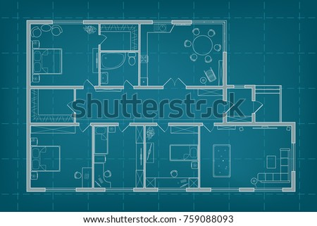 Architectural blueprint vector floor plan house stock vector architectural blueprint vector floor plan of the house on background of millimeter paper professional malvernweather Gallery