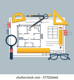 Architectural blueprints and drawing tools. Workplace of architect. Draft plan of building house. Vector, flat. Drawing, ruler, compass, protractor, magnifying glass, violin.