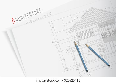 Architectural blueprints and two blue pencils