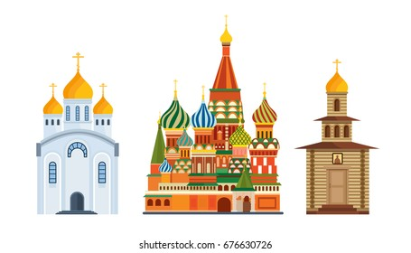 Architectural building. Monument of Russian architecture, famous Orthodox Church of St. Basil Blessed, cathedral, Orthodox christianity. Place for prayer, treatment to God. Vector illustration.