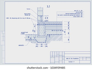 Architectural and building structures .Sections, CAD, parts and assemblies, foundation. Vector