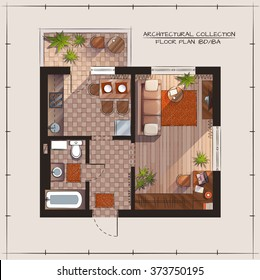 Architectural Color Floor Plan.One Bedroom Apartment