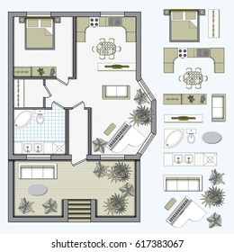 Architectural color floor Plan with furniture top view. 