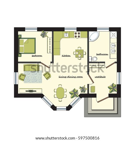 Architectural Color Floor Plan Furniture Top Stock Vector (Royalty on one bedroom cottages, one bedroom home, one bedroom bungalow, one bedroom hotel, one bedroom villas, one bedroom boats, one bedroom townhouse, one bedroom assisted living, one bedroom rooms, one bedroom houses, one bedroom luxury apartments, one bedroom condos, one room studio living, one bedroom chalets, one bedroom penthouse, one bedroom cabins, one bedroom duplexes, one room studio apartments, one bedroom apartments miami, one bedroom efficiency apartments,