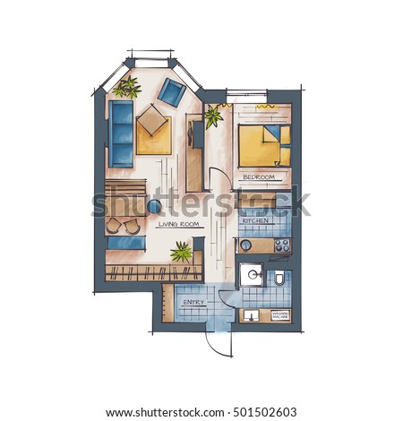 Architectural Color Floor Plan One Bedroom Stock Vector Royalty