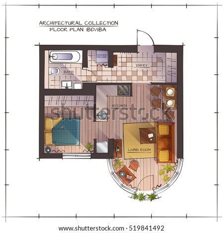 Architectural Color Floor Plan One Bedroom Vector De Stock