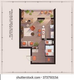 Architectural Color Floor Plan.Studio Apartment