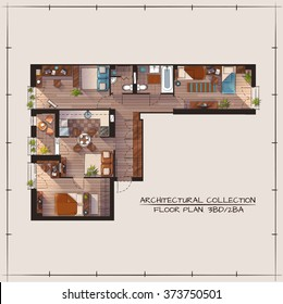 Architectural Color Floor Plan.Three Bedrooms Apartment