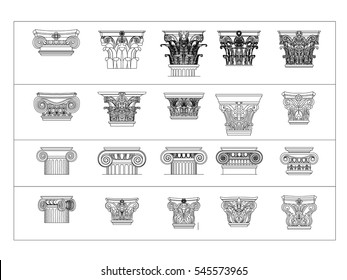 Architectural column design set black paint on the white background