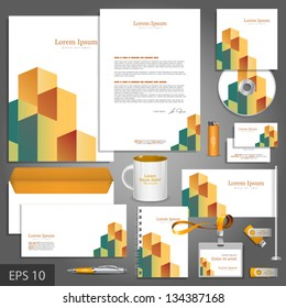 Architectural corporate identity template with cube element. Vector company style for brandbook and guideline. EPS 10