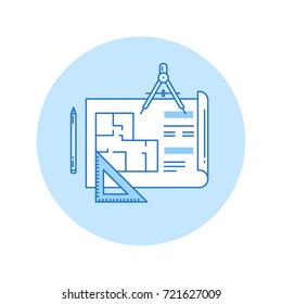 Architectural design icon in lineart style.