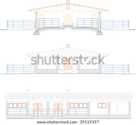 Architectural Draw Barn Stock Vector Royalty Free 39519397