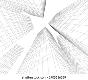 architectural drawing 3d vector illustration