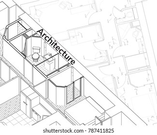 Architectural drawing background  Detailed plan 3d wireframe of building. sketch design.Vector technical  illustration