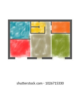 Architectural drawing of colored zoning plan. Vector illustration