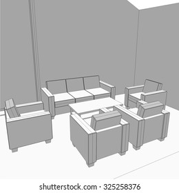 Architectural drawing. House interior design