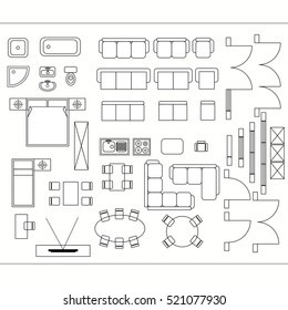 Architectural drawing for planning construction and home improvement. Symbols used furniture and architecture plans icons set. Graphic design elements.