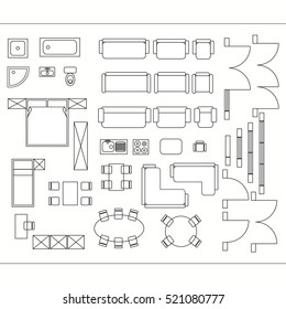 Architectural drawing for planning construction and home improvement. Symbols used furniture and architecture plans icons set. Graphic design elements