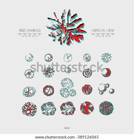 Architectural Drawing Trees Line Symbols Top Stock Vector Royalty