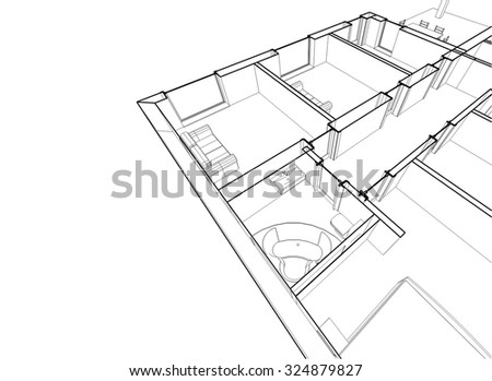 Architectural Drawings House Building Stock Vector Royalty Free