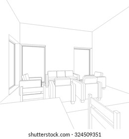 Architectural drawings. Linear vector background