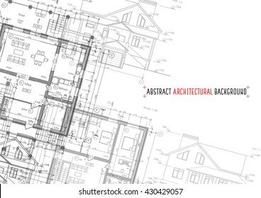 Architectural drawings on white background. Vector illustration