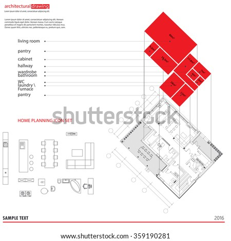 Architectural Drawings Plans Background 3 D Diagram Stock Vector