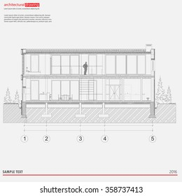 Architectural drawings, sections, elevations, background. The architectural theme. Working drawings