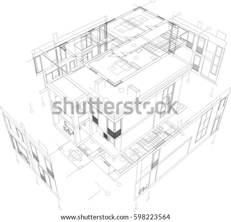 Architectural Drawings Vector Stock Vector Royalty Free 598223564