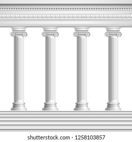 Architectural element colonnade from realistic antique columns with decorated ceiling and base with stairs vector illustration