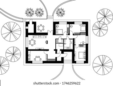 Architectural floor plan of a house. The drawing of the cottage. Isolated on white background. Vector black illustration EPS10