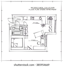 Architectural Hand Drawn Floor Plan. Studio Apartment