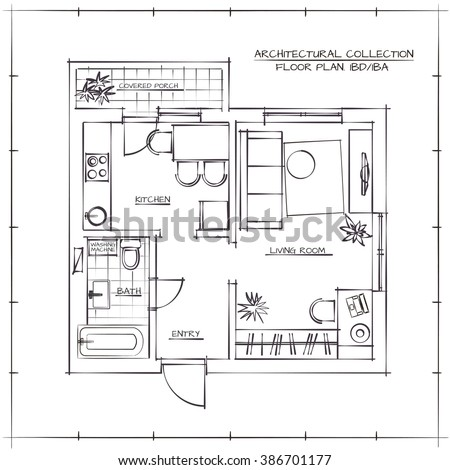 Architectural Hand Drawn Floor Plan Bedroom Stock Vector Royalty Fascinating Bedroom Layout Planner Free Collection
