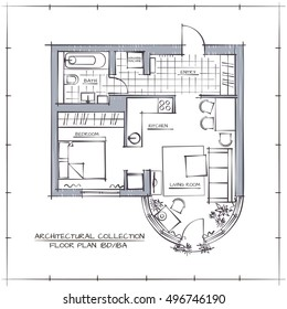 Architectural Hand Drawn Vector Floor Plan. One Bedroom Studio Apartment