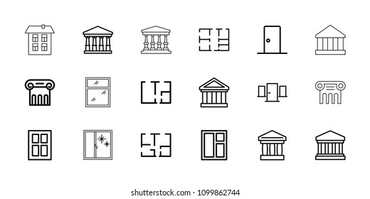 Architectural icon. collection of 18 architectural outline icons such as court, greek column, window, bank, court building. editable architectural icons for web and mobile.