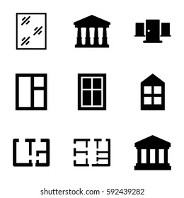 architectural icons set. Set of 9 architectural filled icons such as court, window, court building, plan