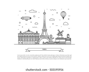 Architectural landmarks of Paris, the streets of the French capital. Vector illustration drawn in a linear style, it shows the main symbols of France