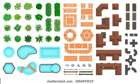 Architectural landscape items. Outdoor city top view trees, houses, roads and wooden furniture vector illustration set. Landscape construction elements. Roof, pools, bushes and fences for project