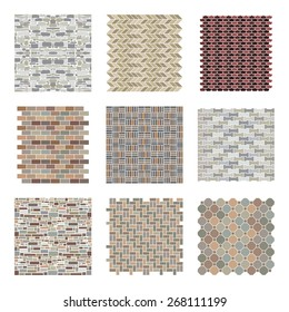 Architectural and landscape rocks and bricks patterns set