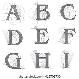 Architectural Letters for design. Vector illustration