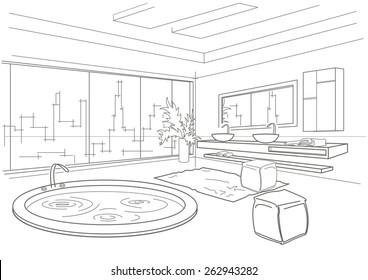 architectural linear sketch bathroom interior
