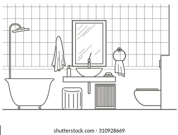 architectural linear sketch bathroom interior front view
