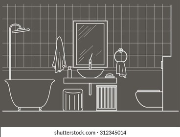 architectural linear sketch bathroom interior front view on gray background