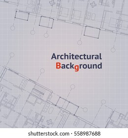 Architectural pattern. Gray building plan silhouette on white background. Vector illustration.