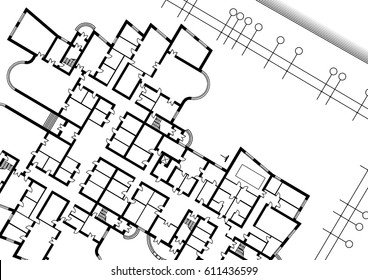 The architectural plan of the building on a white background. Vector illustration