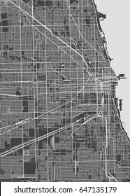 Architectural plan of the city Chicago, detailed map, vector illustration