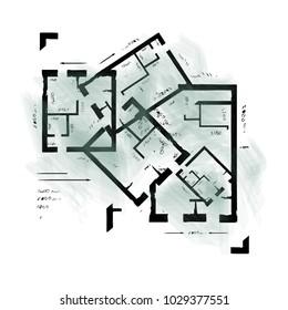 Architectural plan drawing. Interior design background. Vector illustration